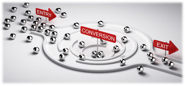 3D illustration of a conversion funnel with entry and exit